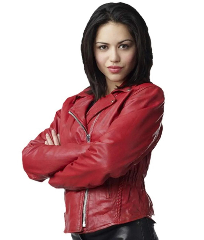 Alyssa Diaz Hot biker red leather ben 10 alien swarm elena validus jacket
