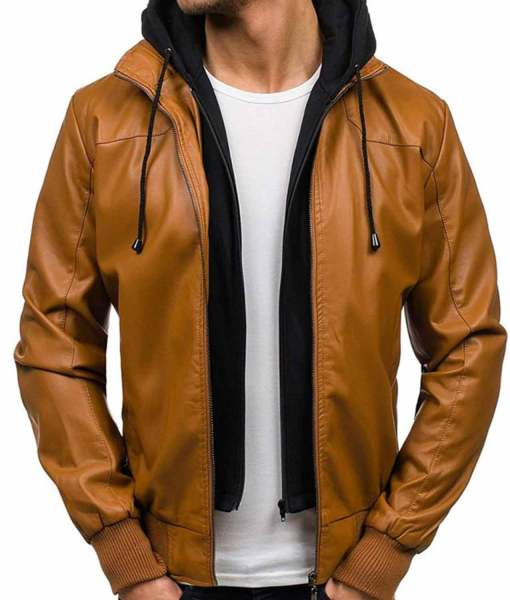 camel-brown-leather-jacket-with-hoodie