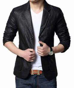 mens-black-leather-blazer