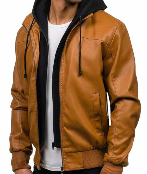mens-causal-bomber-camel-brown-leather-jacket
