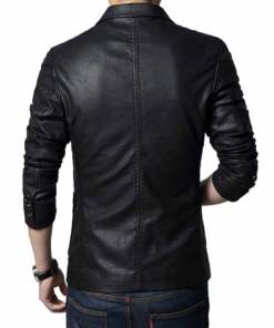 slim-fit-black-leather-blazer