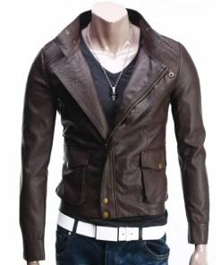 slim-fit-brown-leather-jacket