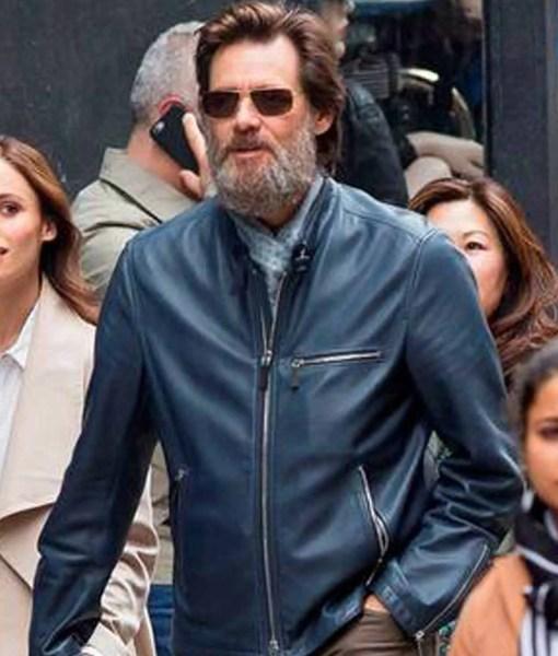 street-wear-jim-carrey-blue-leather-jacket