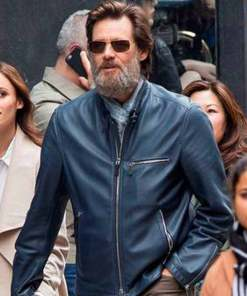 street-wear-jim-carrey-blue-leather-jacket