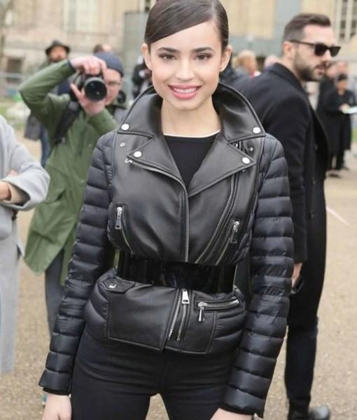 paris-fashion-show-sofia-carson-leather-jacket