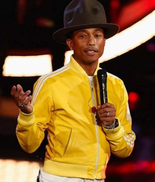 striped-pharrell-williams-yellow-leather-bomber-jacket