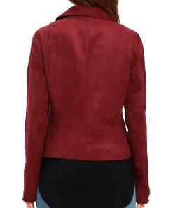 willa-holland-arrow-thea-queen-red-suede-jacket