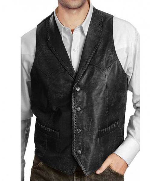 mens-distressed-black-leather-vest