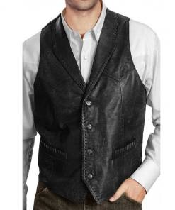 mens-distressed-black-leather-vest