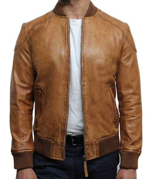 mens-waxed-bomber-brown-leather-jacket