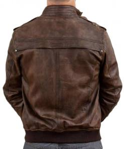 mens-waxed-brown-leather-bomber-jacket