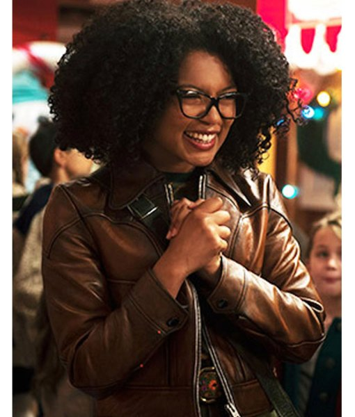 rosalind-walker-brown-leather-jacket
