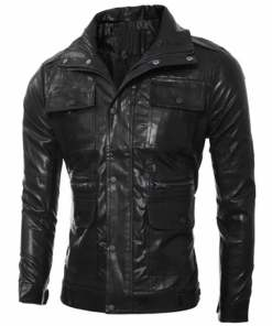 mens-multi-pocket-design-slim-fit-black-faux-leather-jacket