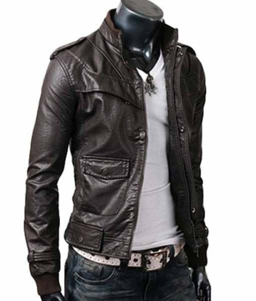 mens-stand-collar-slim-fit-dark-brown-leather-jacket