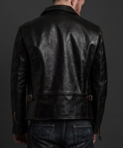 mens-biker-riders-black-leather-jacket