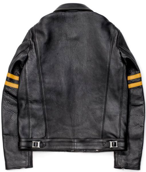 mens-black-leather-biker-yellow-striped-jacket