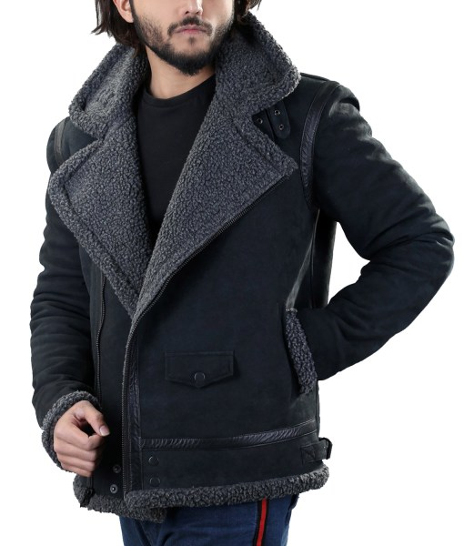 mens-black-leather-grey-shearling-jacket