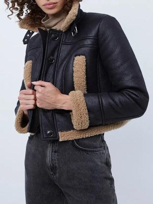 Heart-Radio-Studios-Kelly-Brook-Leather-Jacket