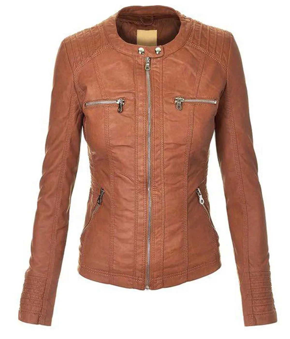 womens-casual-brown-faux-leather-jacket