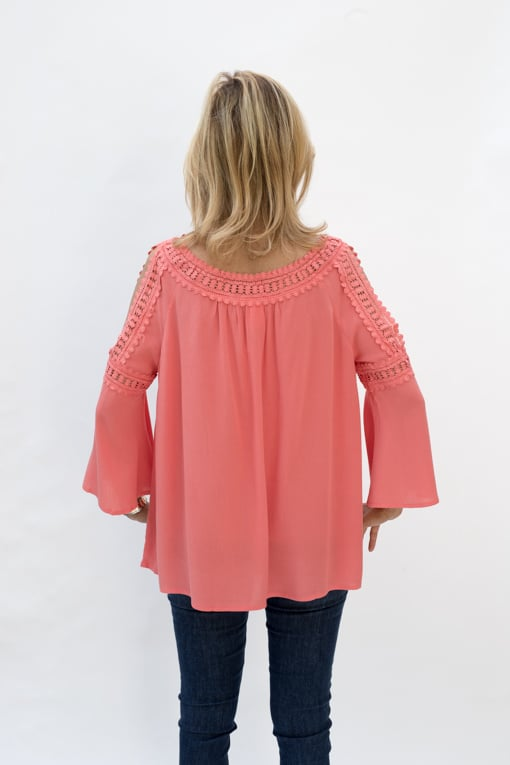 Coral Cold Shoulder Top With Lace Trim Is Now Available In