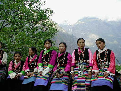 Women dancing in Prok Nepal, Manaslu Trek