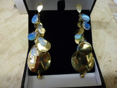 Multi disc gold and moonstone drop earrings