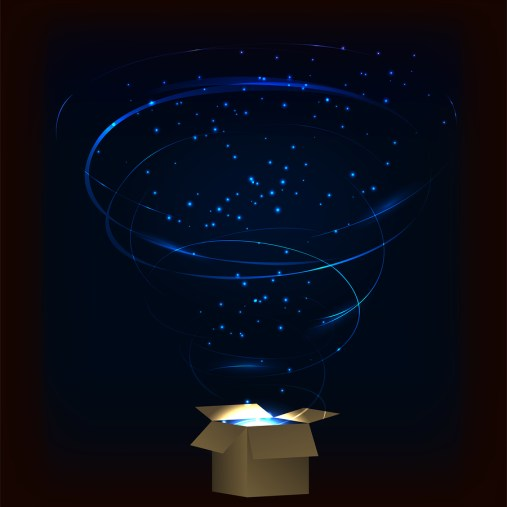 Magic box. Magic box with tornado fireworks. Magic box with circular plasma explosion. Magic box with sparkles. Box full of blue magic. Spell from magic box. Charming magic box.