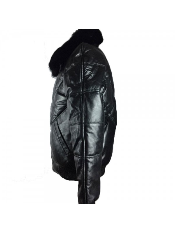 72d66763d54 Mens Bomber Lambskin Leather Jacket with Fox Fur Collar - jackleathers