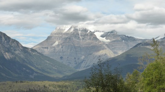 Mt Robson on an almost clear day.