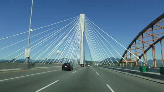 The Port Mann Bridge in Vancouver. A toll bridge costing $3 per trip for a car.