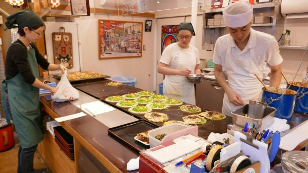 Preparing the Okonomiyaki