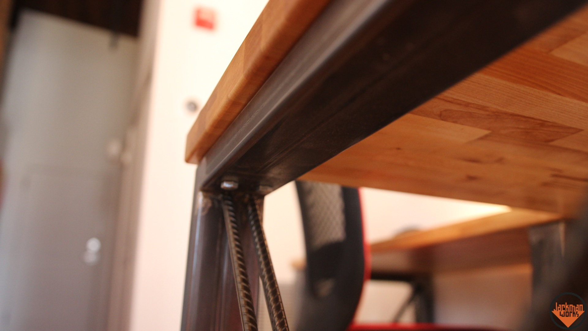 Industrial wood and metal desk 43 jackman works jackmanjackman worksindustrial desksteel deskwood and metal deskbutcherblock deskwaterloxdesktop finishcustom deskdiyhow to industrialinterior solutioingenieria Images