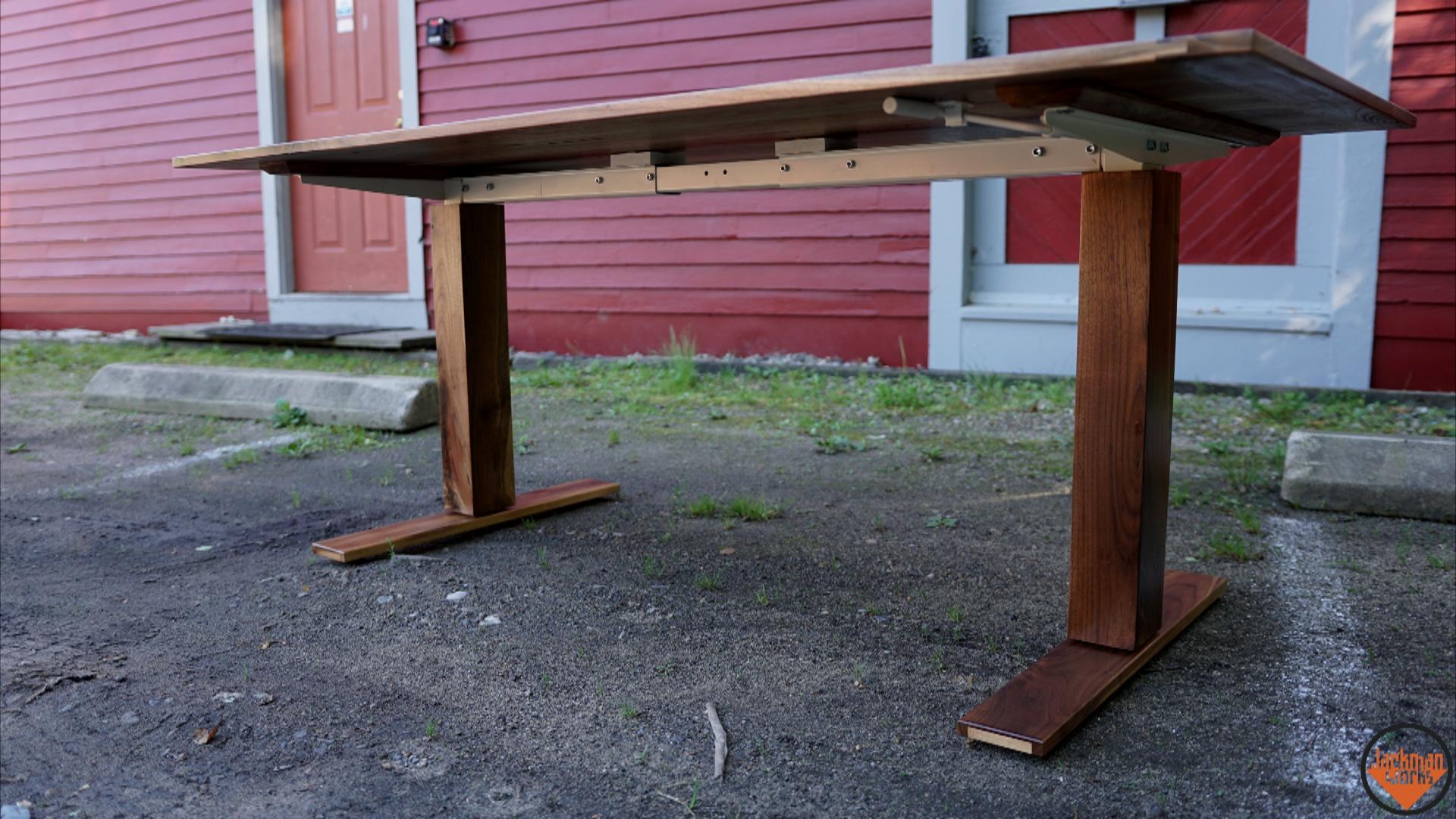 Adjustable Height Sit Stand Walnut Desk Jackman Works - Adjustable height desk diy