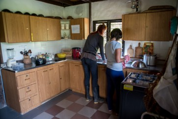 Tanja and I doing the dishes