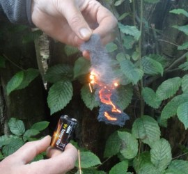 Lighting a fire with wire wool and a battery | Using electricity to light a fire