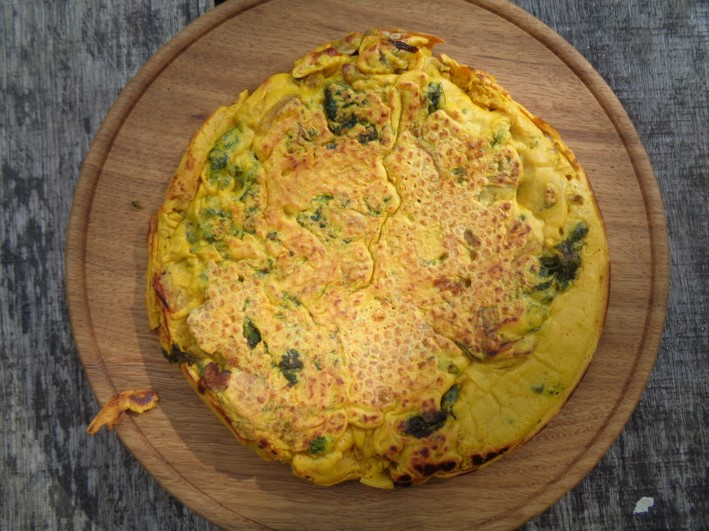 vegan frittata with wild greens