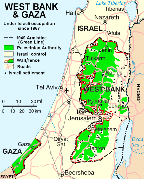 The West Bank and Gaza Strip in green; Palestinian areas