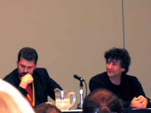 neil gaiman (right) and the comic book legal defense fund team