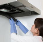 woman doing Air Duct Cleaning