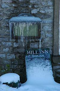 Ice on the menu, Hill Inn, Chapel-le-Dale
