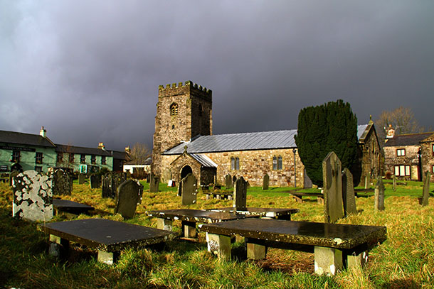 Stormy day at St Oswald's church, Horton-in-Ribblesdale