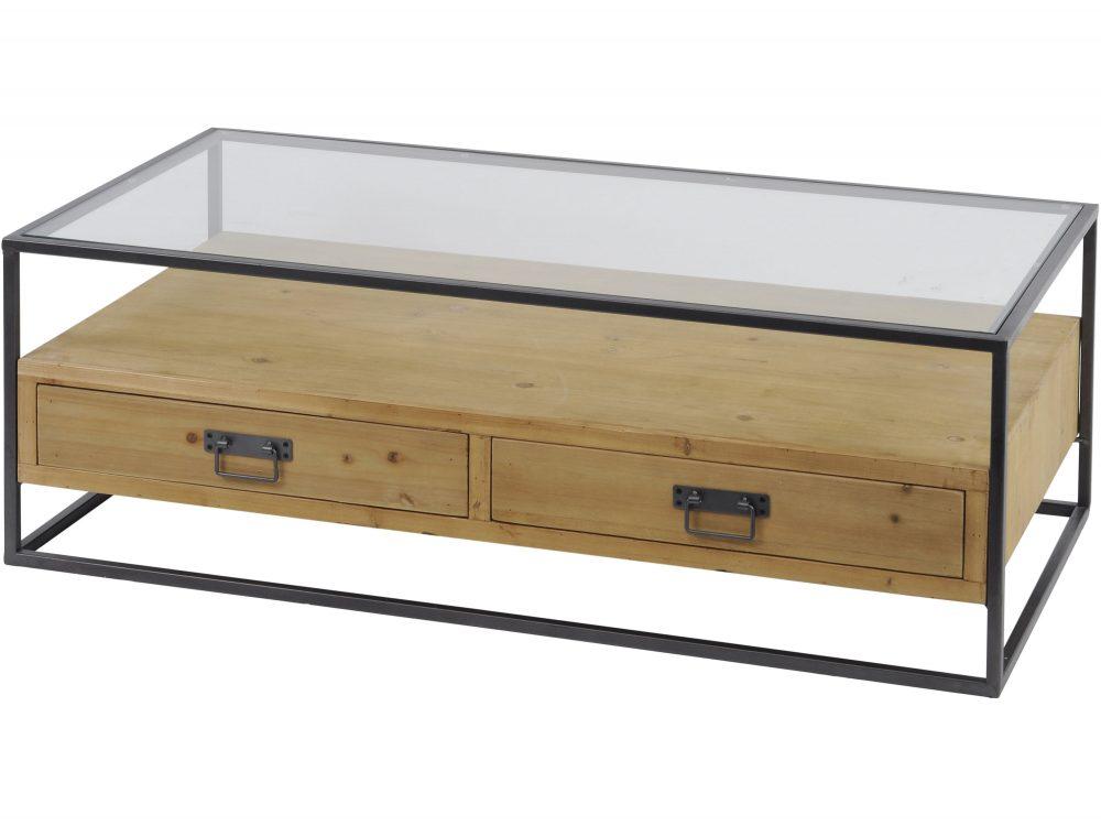 kempsey fir wood and iron coffee table