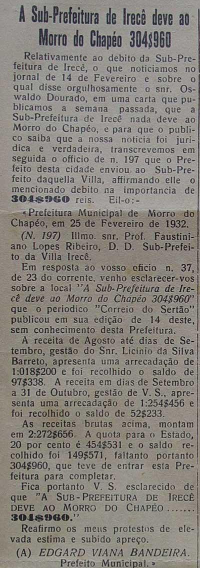Imagem Correio do Sertão Subprefeitura de Irecê