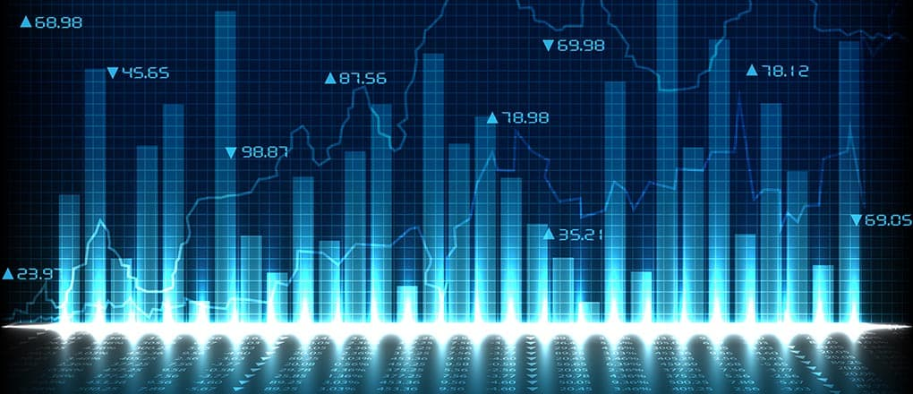 easy to edit vector illustration of financial graph chart