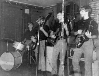 1965 - The MODS: (l-r) James Rice; Larry Steele; Allen Collins; Taylor Corse This was our very first band, founded in the fall of 1964 by Allen Collins, Larry Steele, James Rice and Donnie Ulsh, (not pictured). Substituting for Donnie on this particular night was Taylor Corse, one of the guitarists of our rival band, the Squires. Within the next few months Ronnie Van Zant would join the Squires as their lead singer.