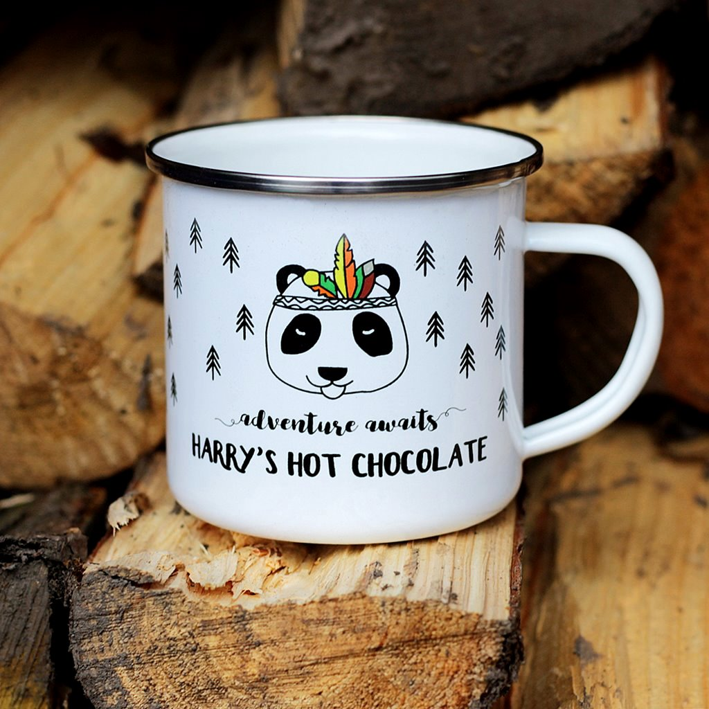 Kids Hot Chocolate Mug Childrens Camping Enamel Mug