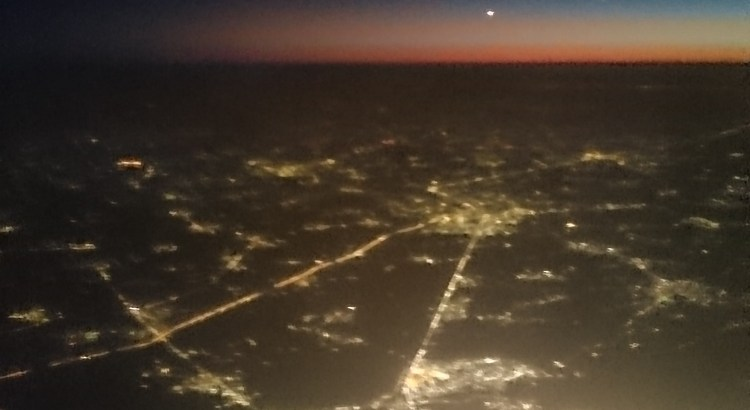 Flying in to Cairo right after sunset.