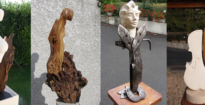 Sculptures:  Bois, Pierre, Métal