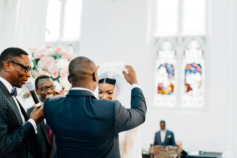 Lifting the Veil during the Church Wedding Ceremony