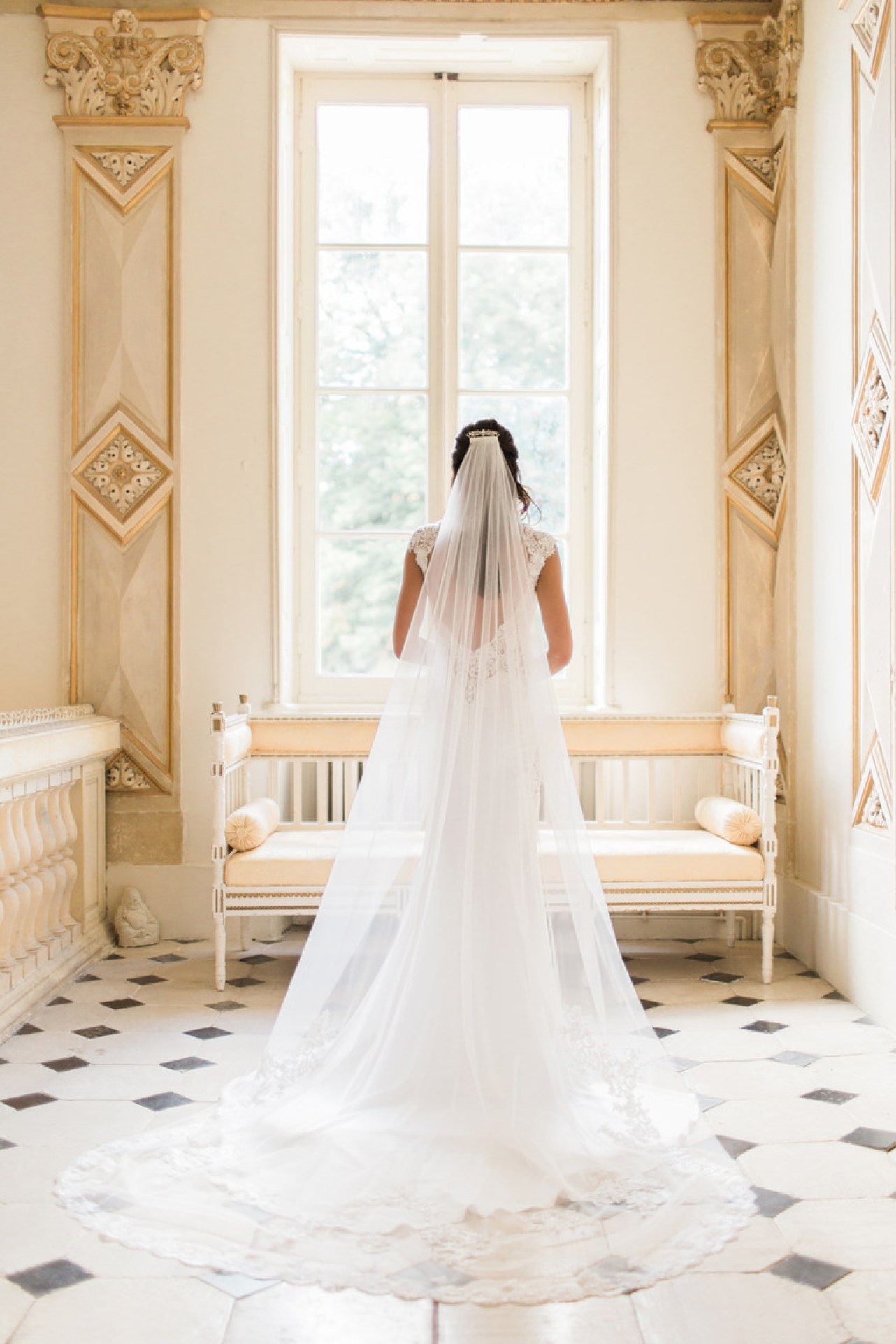 Bride in the Wedding Dress at Chateau la Durantie in France